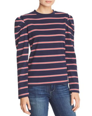 Kinetic Striped Pleated Shoulder Top, Navy/Red