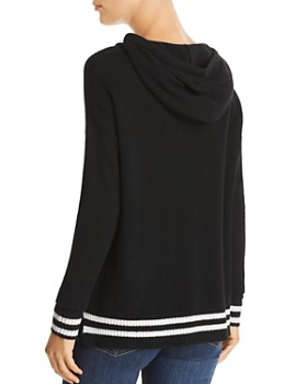 C by Bloomingdale's - Striped-Trim Cashmere Hooded Sweater - 100% Exclusive