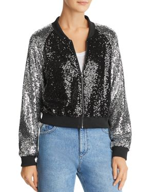 LUCY PARIS Sequined Bomber Jacket in Black/Silver