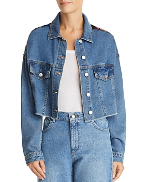 Sunset + Spring Sequined Cropped Denim Jacket - 100% Exclusive