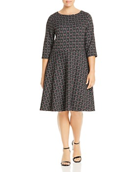 Leota Plus - Geometric Jacquard Fit-and-Flare Dress