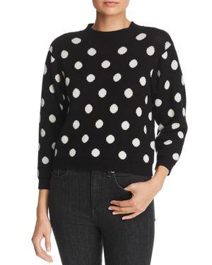 JOIE Brettina B Polka-Dot Wool Sweater in Caviar