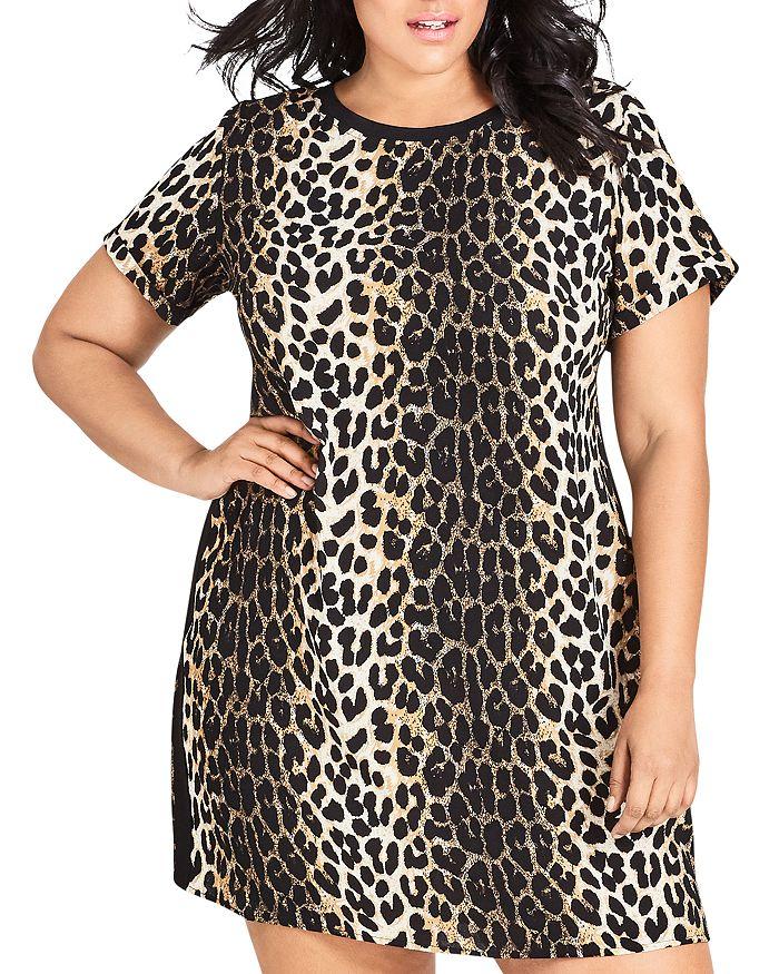 City Chic Plus - Leopard-Print Shift Dress