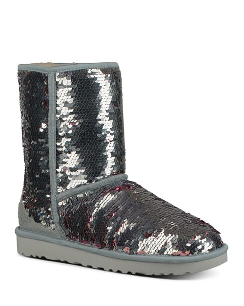 UGG® Women's Classic Round Toe Sequin Short Boots | Bloomingdale's