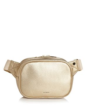 STATE Crosby Metallic Leather Belt Bag in Gold/Gold