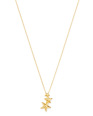 Triple Shooting Star Pendant Necklace in 14K Yellow Gold