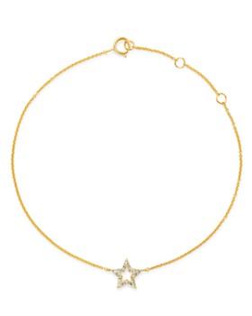 Moon & Meadow - Diamond Open Star Adjustable Bracelet in 14K Yellow Gold - 100% Exclusive