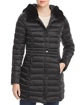Laundry by Shelli Segal - Mercury Puffer Coat with Faux Fur-Trimmed Hood