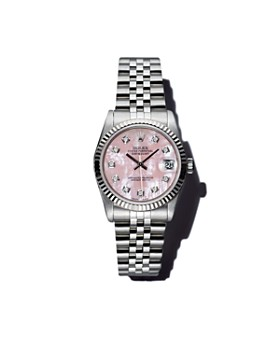 Pre-Owned Rolex - Stainless Steel and 18K White Gold Datejust Watch with Pink Mother-of-Pearl and Diamond Dial, 31mm