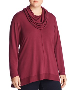 Cupio Plus - Long-Sleeve Cowl-Neck Top