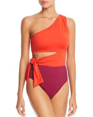 LAURÈN Lauren Ralph Lauren Glamour Color-Block Cutout One Piece Swimsuit in Red Plum
