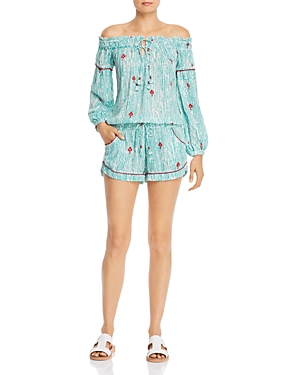 Poupette St. Barth Clara Off-the-Shoulder Romper