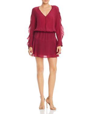 KARINA GRIMALDI Camila Ruffled Sleeve Mini Dress in Berry