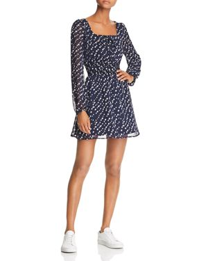 SAGE THE LABEL Sage The Label Star Girl Printed Smocked Mini Dress in Navy