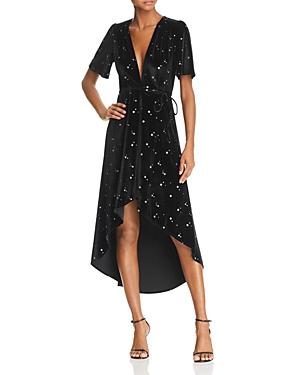Re: Named Velvet Star-Print Midi Wrap Dress