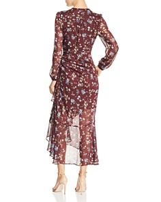 ASTR the Label - Ruched Drawstring Floral Faux-Wrap Dress