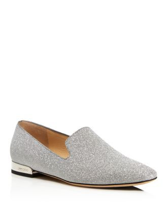 Women's Jaida Square Toe Glitter Leather Loafers by Jimmy Choo