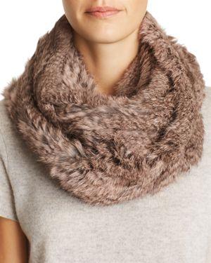 Jocelyn Knit Rabbit Fur Infinity Scarf