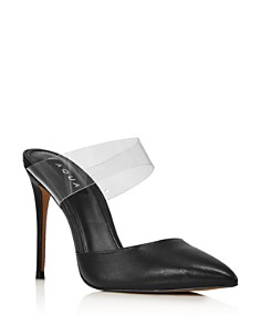 AQUA - Women's Dee Leather & See-Through High-Heel Mules - 100% Exclusive
