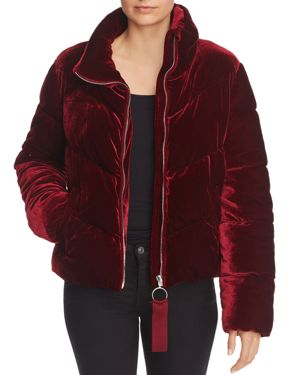AQUA Velour Puffer Coat - 100% Exclusive in Burgundy