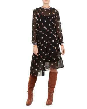 Colour By Numbers Luela Floral Midi Dress, Black