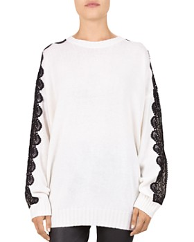 The Kooples - Lace Sleeve Knit Sweater