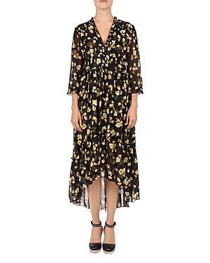 The Kooples Golden Leaves Silk Midi Dress