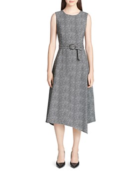 Calvin Klein - Belted Asymmetric Midi Dress