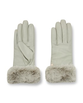 Ted Baker - Nadie Faux Fur-Cuff Leather Gloves