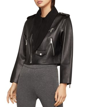 Bcbgmaxazria Aubree Tie-Neck Cropped Leather Moto Jacket