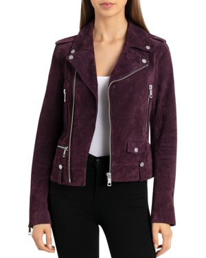 BAGATELLE.NYC Bagatelle. Nyc Suede Moto Jacket in Mulberry