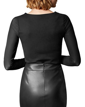 KAREN MILLEN - Paneled Mesh-Sleeve Top