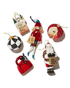 Bloomingdale's - Joy to the World Bloomingdale's Little Brown Bag Glass Ornament, Tartan Santa Glass Ornament & More - 100% Exclusive