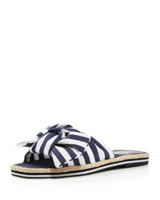 Caliana Striped Bow Flat Sandals