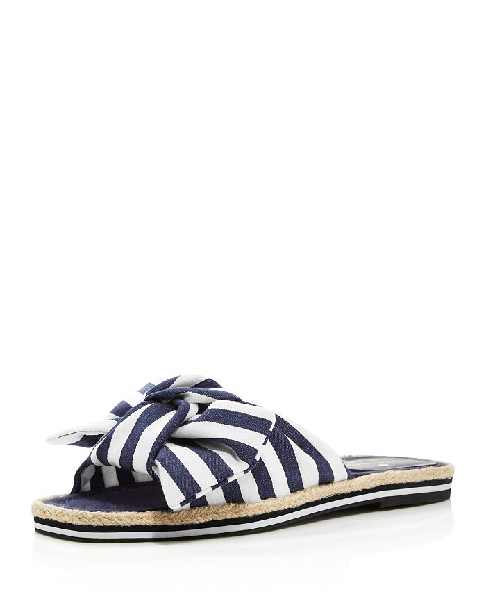 kate spade new york - Women's Caliana Striped Bow Flat Sandals
