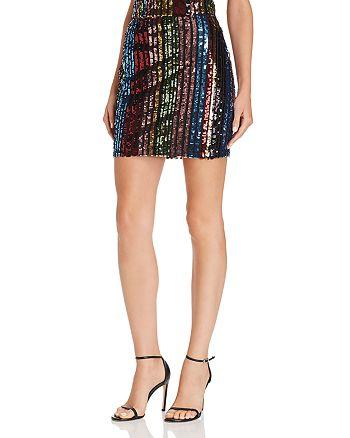 AQUA - Rainbow Sequin Stripe Mini Skirt - 100% Exclusive