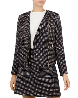 Colour By Numbers Julio Boucle Biker Jacket, Navy