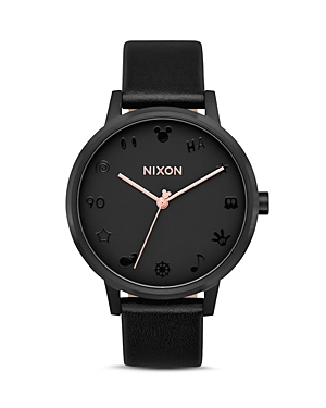 Nixon DISNEY KENSINGTON BLACK LEATHER WATCH, 37MM