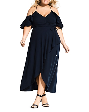City Chic Plus Miss Jessica Cold-Shoulder Maxi Dress
