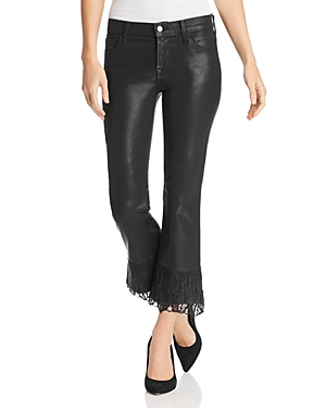 J Brand Selena Lace-Detail Crop Bootcut Jeans in Black Out