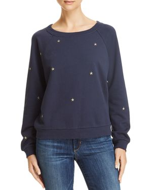 HONEY PUNCH Embroidered Star Sweatshirt in Navy