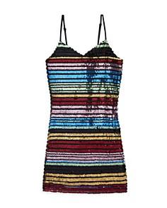 Miss Behave - Girls' Sandy Striped Sequin Dress - Big Kid
