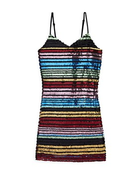 e340825f9d73 Miss Behave - Girls  Sandy Striped Sequin Dress - Big Kid ...