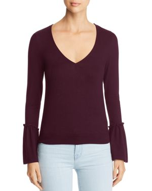 RED HAUTE Flared Sleeve Top in Plum