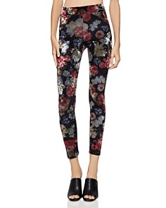 BCBGeneration - Floral Crushed Velvet Leggings