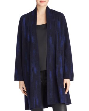 EILEEN FISHER Plus Size Open-Front Printed Kimono Jacket in Midnight