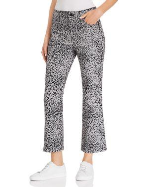 rag & bone/Jean Hana Flocked Cropped Flared Jeans in Gray Cheetah