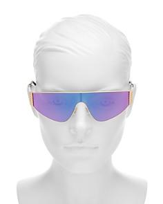 Moschino - Women's Mirrored Flat Top Shield Sunglasses, 145mm