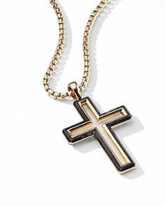 David Yurman - Forged Carbon Cross Pendant with 18K Yellow Gold