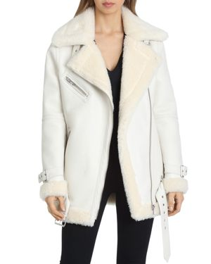 AVEC LES FILLES Faux Leather Sherpa-Trim Biker Jacket in White